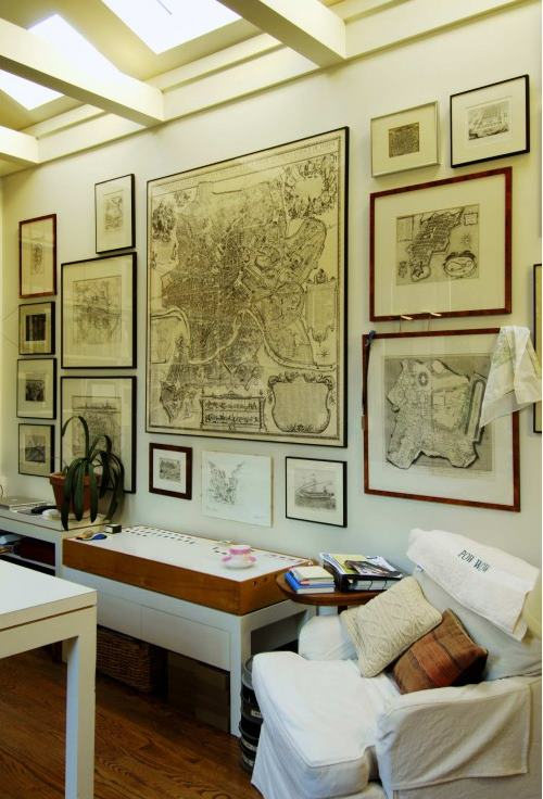 love traveling or geography hang a grouping of framed antique maps