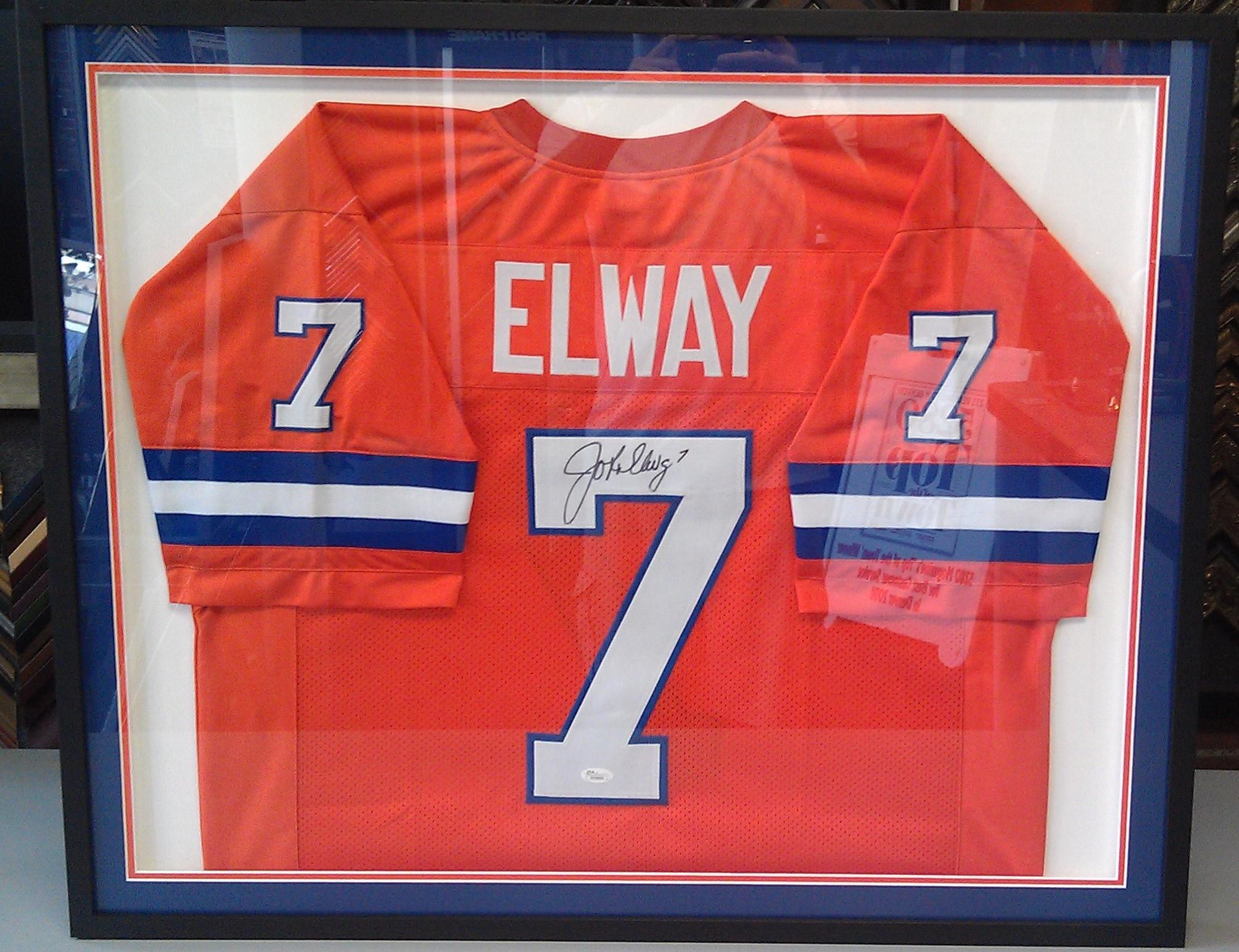 custom framed john elway jersey