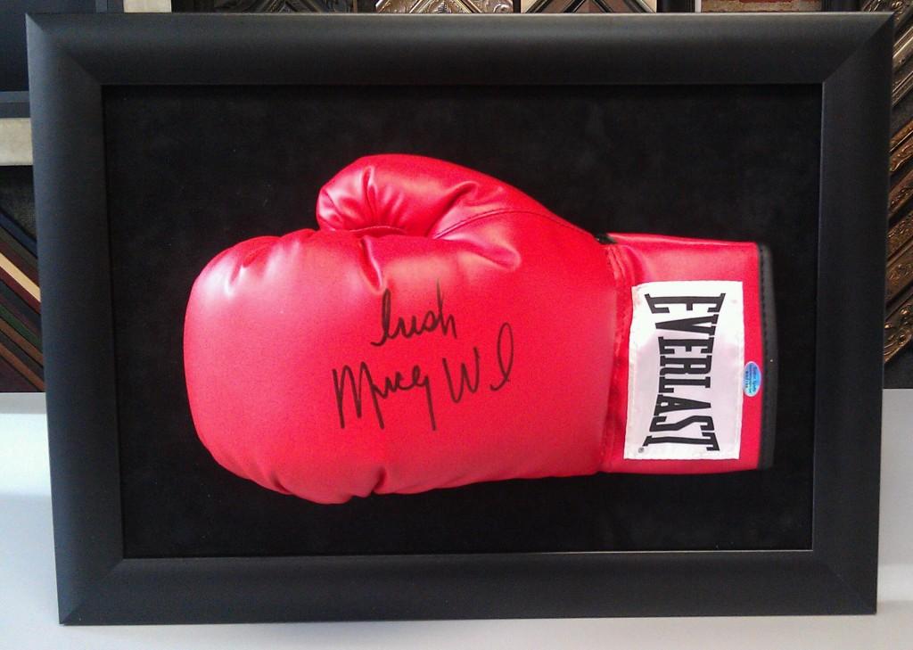 custom framed boxing glove