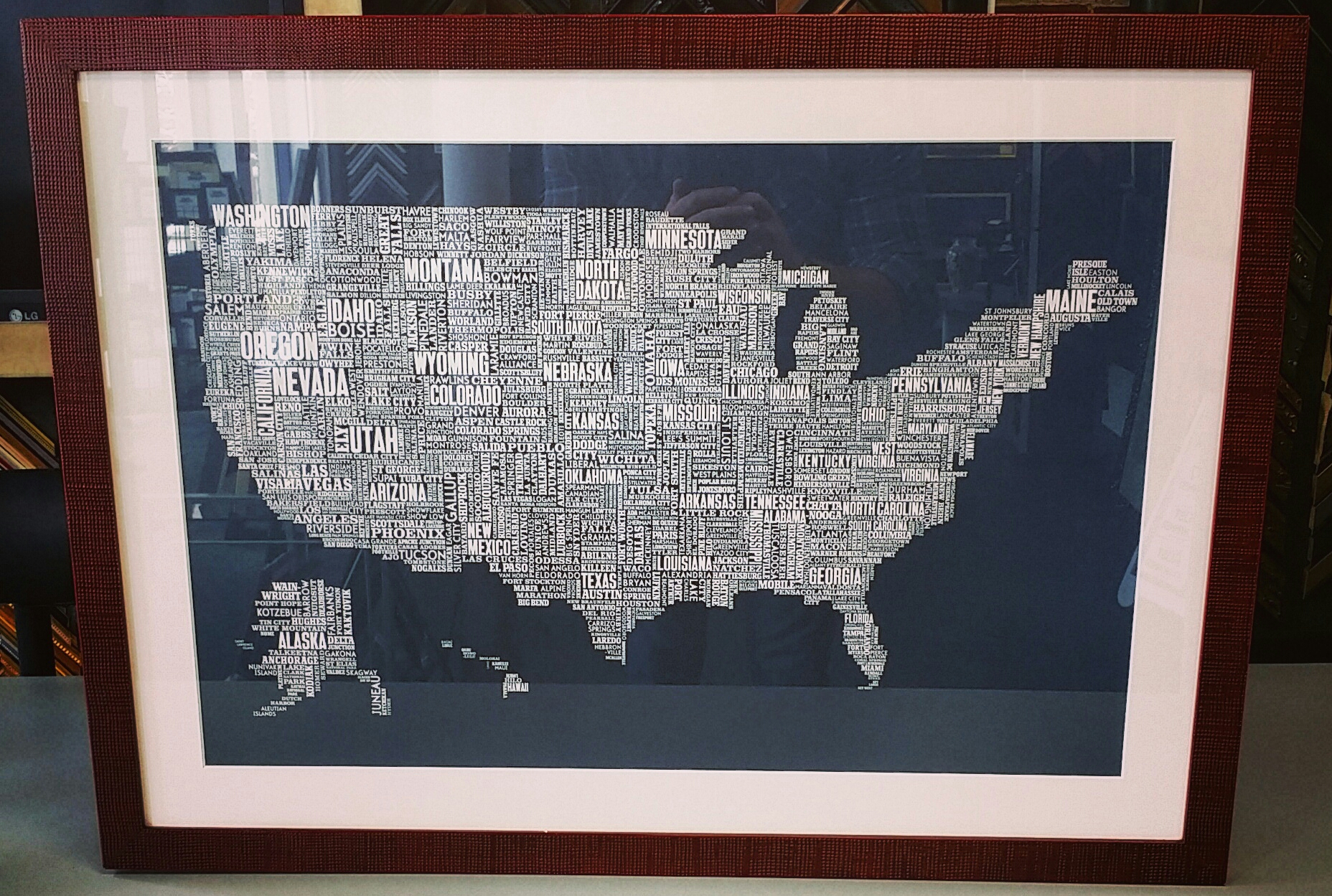 United States Map Picture Frame.United States Map Fastframe Of Lodo Expert Picture Framing
