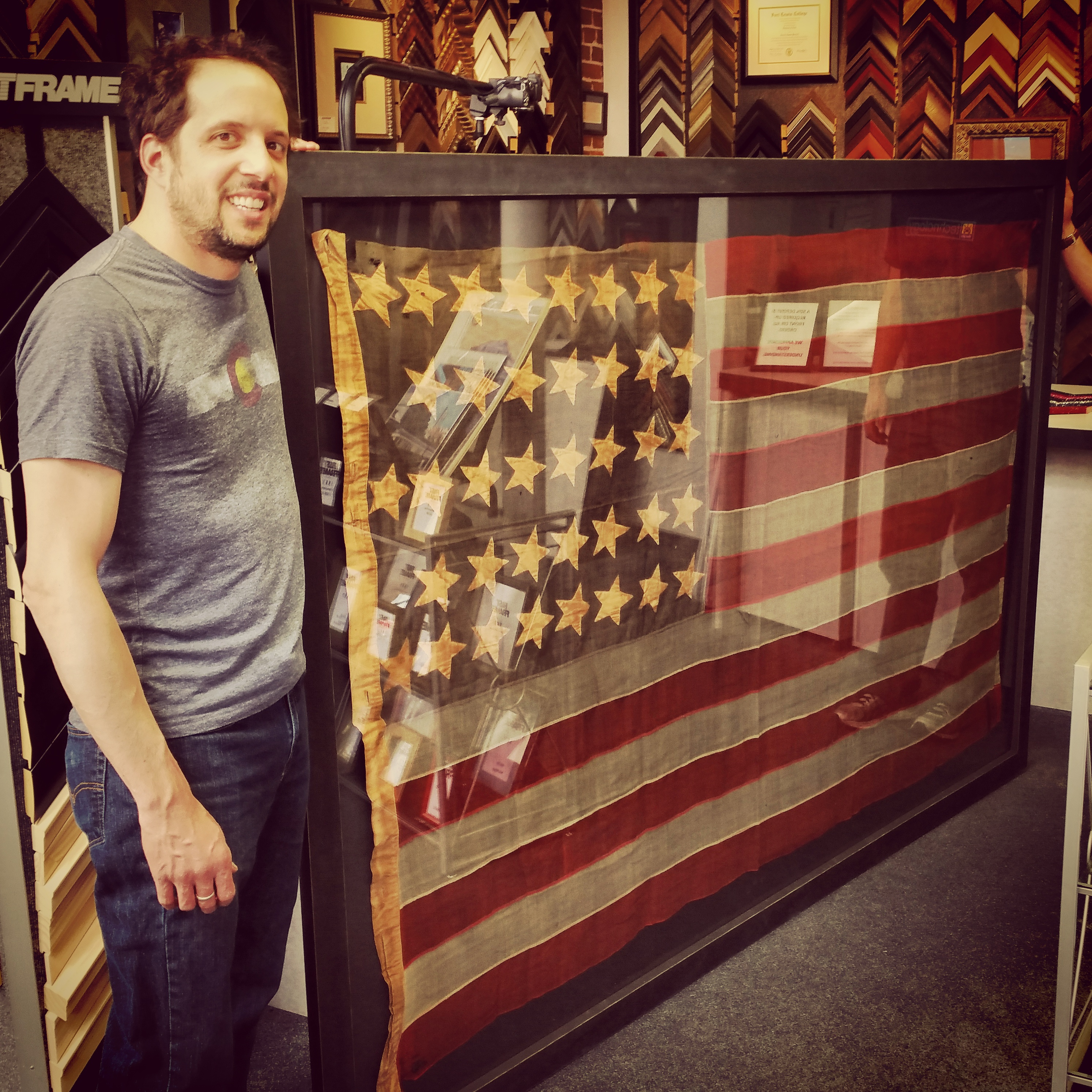 Vintage Custom Framed American Flag Fastframe Of Lodo