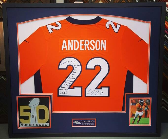 Sports Jersey Framing Denver Broncos