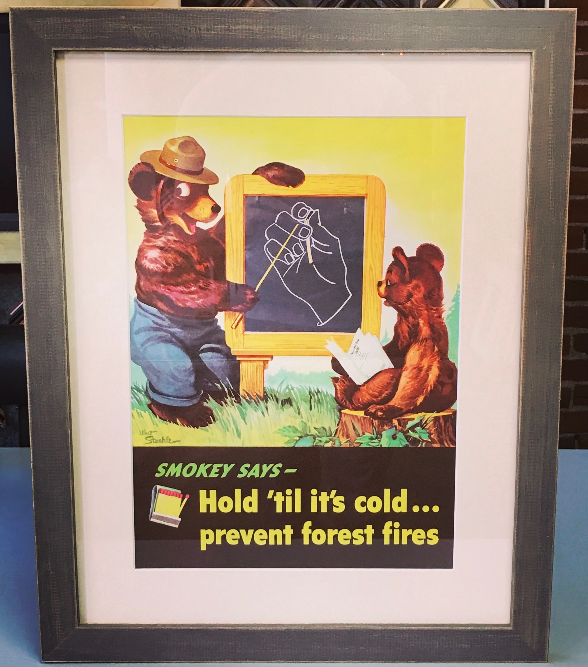 Custom Framed Vintage Smokey The Bear Ad