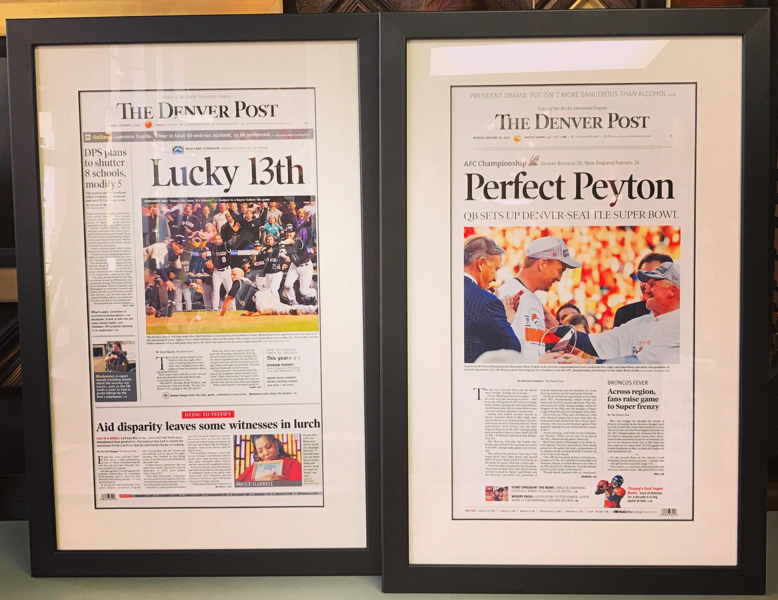 Custom Framed Newspaper Covers Denver