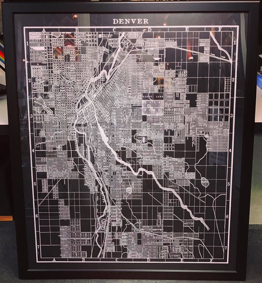 Custom Framed Maps Denver