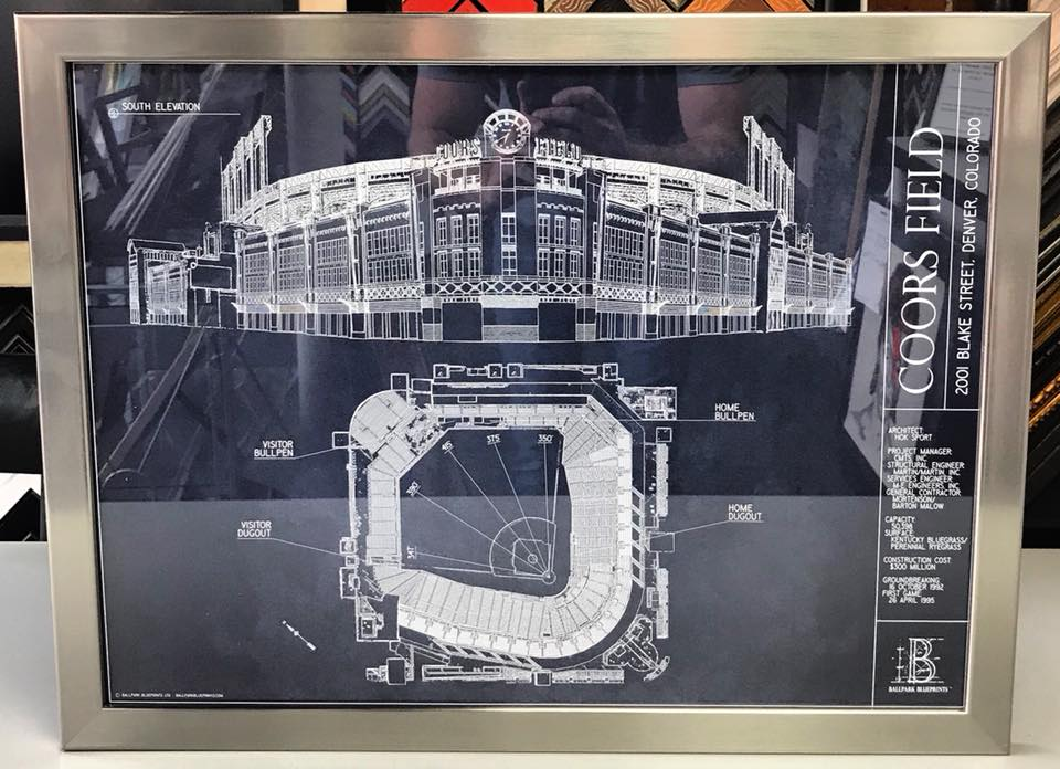 Custom framed coors field blueprint by ballpark blueprints custom framed coors field blueprint by ballpark blueprints malvernweather Gallery