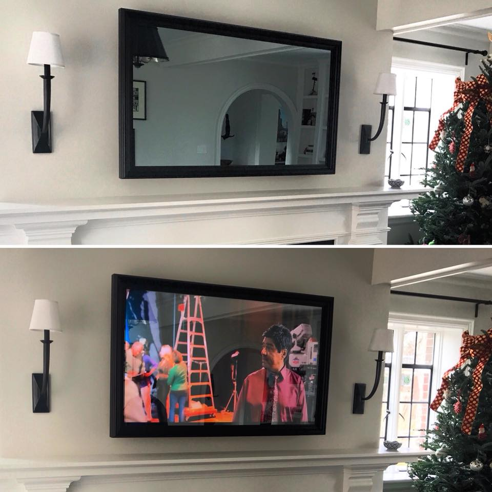 Custom Framed Flatscreen TV | Two-Way Mirror